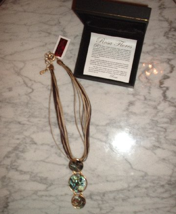 """18K Gold Plated 16"""" Multi-Strand Abalone Necklace (designer Rosa Flores) retail $110.00 NEW"""