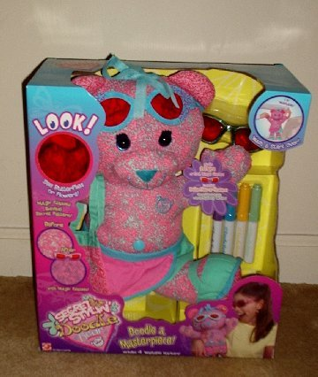 NEW Secret Stylin Doodle PINK Bear with Secret Reveal Glasses and Markers Penny Bear toy NIB