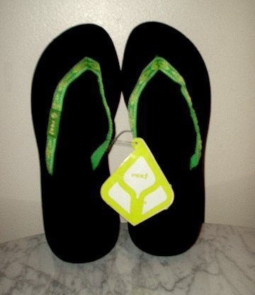 New REEF Ginger thong Sandals Flip Flops black/lime W 7 NWT