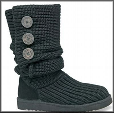 NEW UGG Classic Cardy Crochet Knit Boots Black 6 (6.5-7) NIB - RARE & Hard to find!