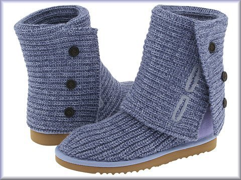 Ugg Cardy Stonewash Blue crochet Boots 7 7.5 New in Box - no fakes sold here!