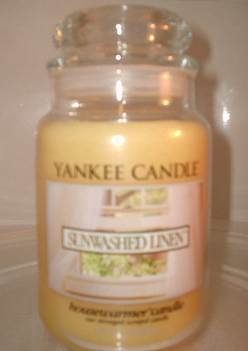 NEW Yankee Candle SUNWASHED LINEN scented housewarmer jar candle 22 oz