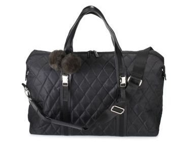Bath and Body Works BBW Large Quilted overnight Aspen tote bag weekender Black NWT