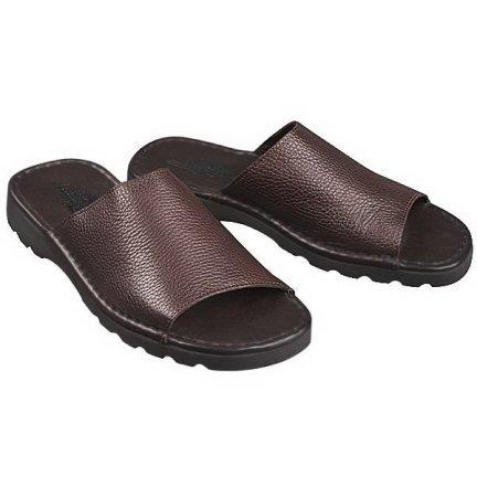 NEW TOMMY BAHAMA LEATHER SLIDES dark brown leather sandals mens 7 NIB