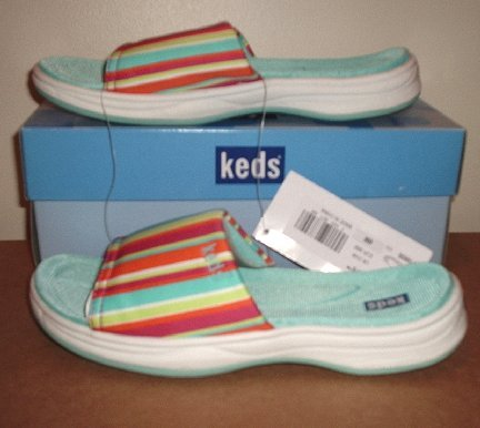 New Keds Joely Stripe slides Sandals NIB Womens 6 *RARE*