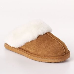 New SONOMA life + style Genuine Suede & Shearling Tan Slipper Clogs womens 6