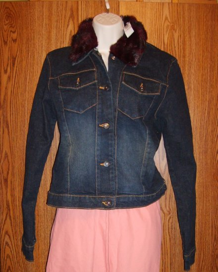 LAUNDRY Shelli Segal Fur Trimmed Denim Jacket Sz 8