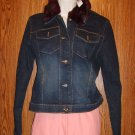 LAUNDRY Shelli Segal Fur Trimmed Denim Jacket Sz 8
