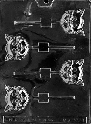 CAT HEAD LOLLY CHOCOLATE CANDY MOLD-HALLOWEEN CANDY MOLD-CANDY, PLASTER, SOAP MOLD MOLDS