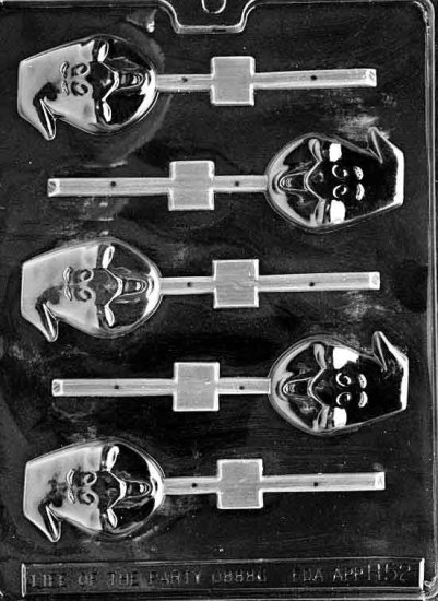 GHOST HEAD LOLLY CHOCOLATE CANDY MOLD-HALLOWEEN CANDY MOLD-CANDY,PLASTER, SOAP MOLD MOLDS