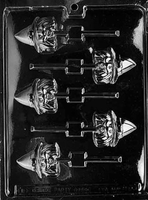 WITCH HEAD LOLLY CHOCOLATE CANDY MOLD-HALLOWEEN CANDY MOLD-CANDY,PLASTER,SOAP MOLD MOLDS