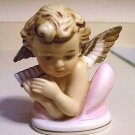 BEAUTIFUL NORCREST JAPAN ANGEL HOLDING PAN FLUTE PORCELAIN CERAMICE PEACEFUL LOOKING VINTAGE