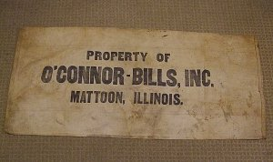 O&#039;CONNOR BILLS INC MATTOON IL FEED GRAIN SACK BAG BEMIS SEAMLESS LARGE 41 x 18 inches