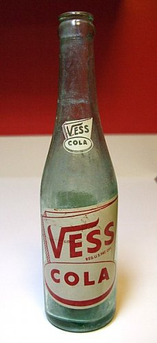 OLD DECATUR IL ILL VESS COLA F & B BOTTLING COMPANY ACL LABEL BOTTLE ART DECO STYLE LABEL