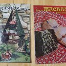 TWO 2 VINTAGE MACRAME BOOKS MAGIC MACRAME WITH SMALL CORDS INSTRUCTION MANUAL CRAFT FREE SHIPPING