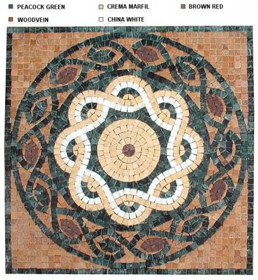 Marble Mosaic Medallion 24 Inch Tumbled TFX200