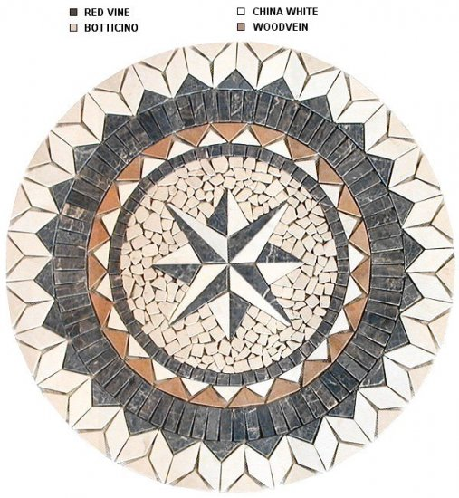 Bold 40 inch Marble Mosaic Medallion