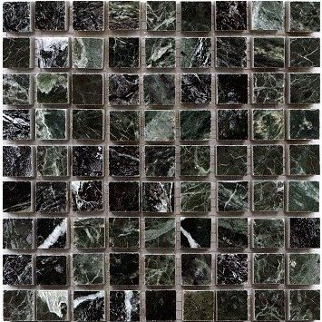 Loose Polished Peacock Green Marble Mosaic Tesserae 7mm Thick