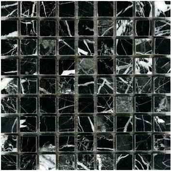 Loose Polished Nero Marquina Marble Mosaic Tesserae 7mm Thick