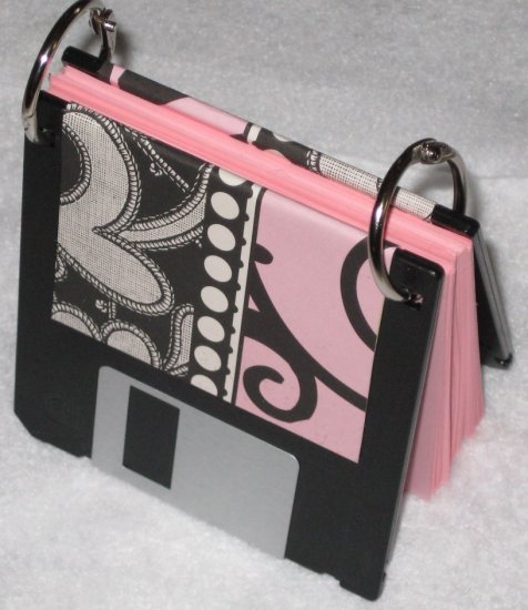 Disc Jotter-Pink Paisley (Recycled Notepad)