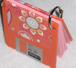 Disc Jotter- Orange Flowers (Recycled Notepad)