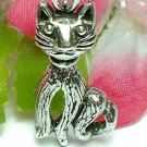 925 STERLING SILVER KITTY CAT WITH COLLAR CHARM / PENDANT
