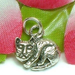 925 STERLING SILVER KITTY CAT CHARM / PENDANT