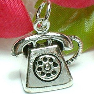 925 STERLING SILVER ANTIQUE TELEPHONE CHARM / PENDANT