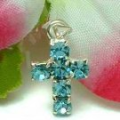 925 STERLING SILVER BLUE TOPAZ CZ CROSS PENDANT