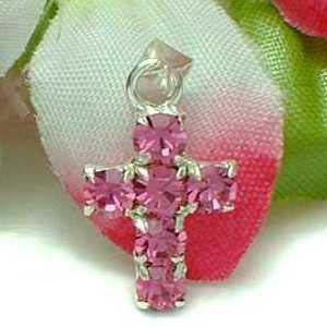 925 STERLING SILVER PINK CUBIC ZIRCONIA CROSS PENDANT