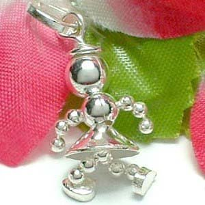 925 STERLING SILVER GIRL ROBOT (MOVABLE) CHARM / PENDANT