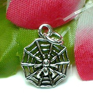925 STERLING SILVER SPIDER ON SPIDER WEB CHARM / PENDANT