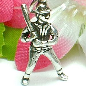 925 STERLING SILVER BASEBALL PLAYER WITH BAT CHARM / PENDANT