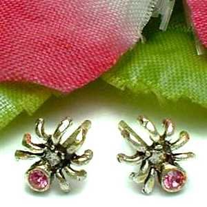 925 STERLING SILVER SPIDER PINK CUBIC ZIRCONIA STUD EARRINGS