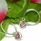 925 STERLING SILVER PINK CZ DANGLING HEART LOOP EARRINGS