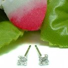 925 STERLING SILVER 3MM ROUND CUBIC ZIRCONIA STUD EARRINGS