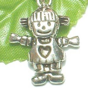925 STERLING SILVER LITTLE GIRL (MOVABLE) CHARM / PENDANT