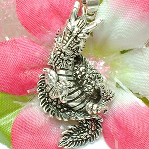925 STERLING SILVER CHINESE DRAGON (MOVABLE) CHARM / PENDANT