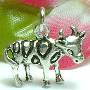 925 STERLING SILVER COW CHARM / PENDANT