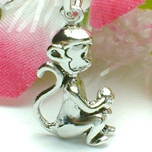 925 STERLING SILVER MONKEY WITH LONGEVITY PEACH CHARM / PENDANT