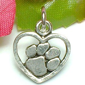 925 STERLING SILVER PAW IN HEART CHARM / PENDANT