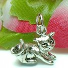 925 STERLING SILVER PLAYFUL KITTY CAT CHARM / PENDANT