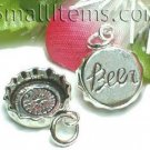 925 STERLING SILVER BEER BOTTLE CAP CHARM / PENDANT