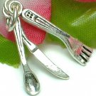 925 STERLING SILVER FORK, SPOON AND KNIFE CHARM / PENDANT
