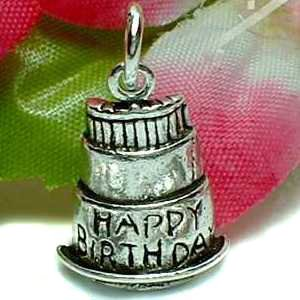 925 STERLING SILVER HAPPY BIRTHDAY CAKE CHARM / PENDANT