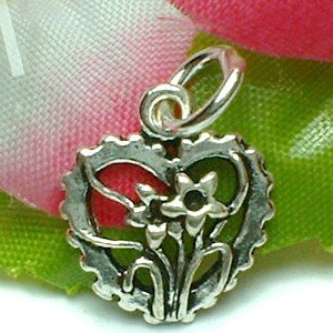925 STERLING SILVER HEART WITH FLOWERS CHARM / PENDANT