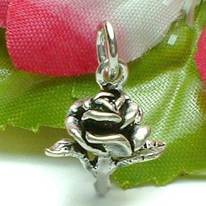 925 STERLING SILVER STALK OF ROSE CHARM / PENDANT