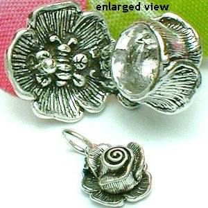 925 STERLING SILVER CRIMSON ROSE WITH BEE CHARM / PENDANT