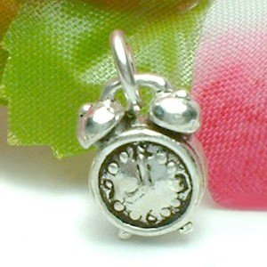 925 STERLING SILVER RETRO DUAL BELL ALARM CLOCK CHARM / PENDANT