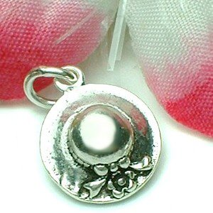 925 STERLING SILVER LADIES FLOWER HAT CHARM / PENDANT
